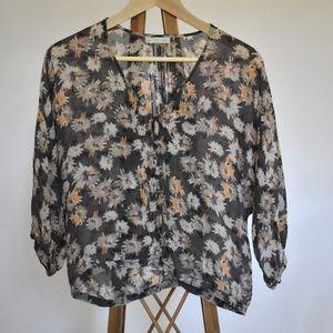 sheer floral button up shirt